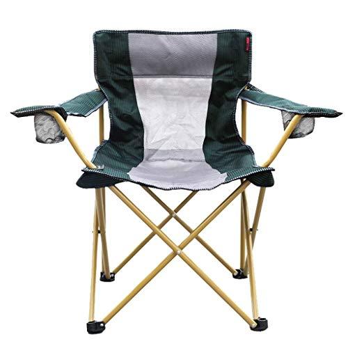 XHHWZB Camping Chair Heavy Duty Lordosenstütze Übergroße Quad Arm Chair Gepolsterte Folding Deluxe mit Cooler Armrest Cup Holder -
