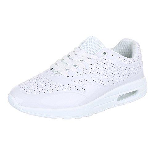 Damen Schuhe, 906-14, FREIZEITSCHUHE, SNEAKERS TURNSCHUHE, Synthetik in hochwertiger Lederoptik und Lacklederoptik, Weiß, Gr 39
