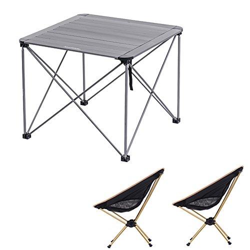QIANGDA Tisch Klappbar Campingtische Mit 2 Stühlen Einfacher Speicher Aluminiumlegierung Tragbar Leicht Draussen Freizeit, 4 Farben Wahlweise (Farbe : Titanium Color+Gold) -