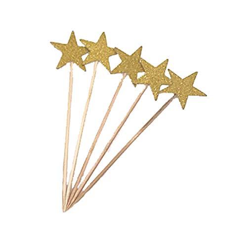 Ogquaton Sterne Kuchen Topper Handwerk Doppelseitige Gold Glitter Sterne Twinkle Twinkle Little Star Dekorationen Baby Dusche Hochzeitstorte Topper Set von 5 (Twinkle Little Star Baby-dusche Dekorationen)