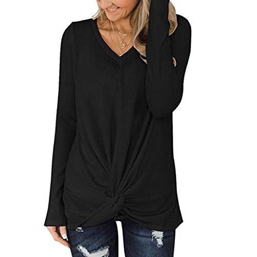 Beikoard Frauen Shirts Casual V-Ausschnitt Langarm Knoten Waffel Knit Tunika Bluse Nette Hemden -