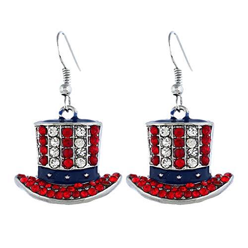 ld Set Creolen hängende Ohrringe Für Damen Einfache Unabhängigkeitstag-Flaggen-Hut-Diamant-Diamantohrringfrauen der Schmuck ()