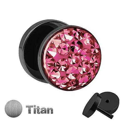 Titan Ohrstecker zum Schrauben mit rosa, pinken KRISTALLEN - Fake Plug mit Zirkonia aus Titanium (Nickelfrei) mit funkelnden Steinen & Schutzschicht - Epoxy ()