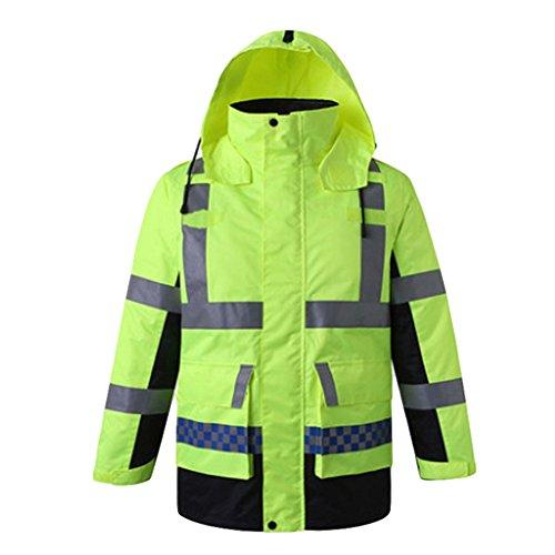 SK Studio Hohe Sichtbarkeit Erwachsenen Regenjacke Arbeit Regenanzug Wasserdicht Atmungsaktiv Reflektierend Sicherheitsjacke Warnschutz Regenbekleidung Neongrün for Winter M