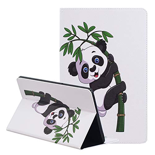 LEMORRY Coque pour Samsung Galaxy Tab A 10.5 / T590 T595 Etui Cuir Portefeuille Pochette Mince Protecteur Magnétique avec Fente Carte Silicone TPU Cover Housse pour Galaxy Tab A 10.5, Mignon Panda