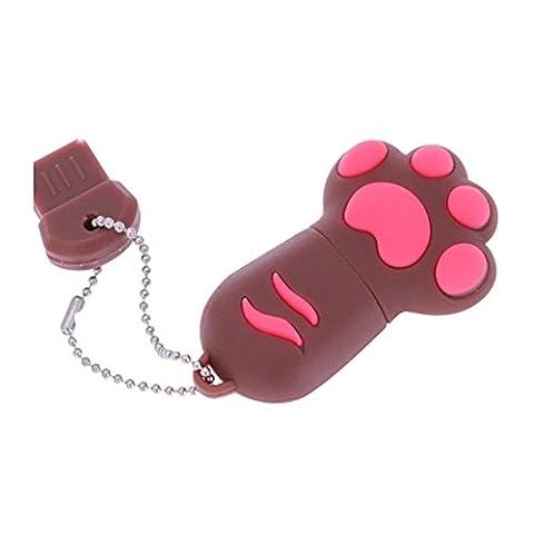 Cat Paw Pet USB Flash Drive 8GB - Memory Stick Data Storage - Pendrive - Brown and Pink