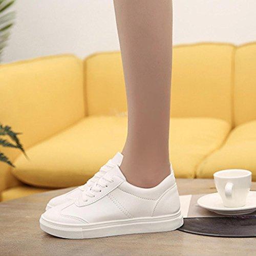 Longra Scarpe da tennis all'aperto delle donne di autunno solido di colore pieno di svago Bianco