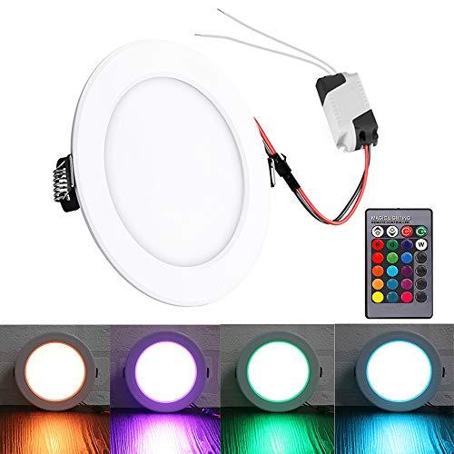 Lemonbest LED Panel Licht RGB verdeckte vertiefte Deckenlampe Farbe ändern Downlight flache Deckenleuchte Lampe mit Fernbedienung AC 85-265V (5W) - 5w Panel