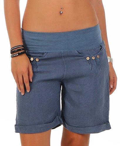 Malito Damen Bermuda aus Leinen | lässige Kurze Hose | Shorts für den Strand | Pants - Hotpants 6822 (Jeansblau, M) -