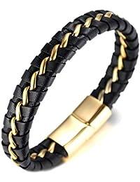 92ca49cc0bf Halukakah ○ Honneur ○ Le Bracelet de l Homme en Cuir Véritable Noire   Or