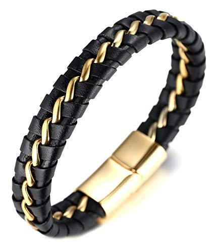 Halukakah ● Ehre ● Herren-Armband Handgefertigt | Echtleder in Schwarz | Magnetverschluss Edelstahl Gold | mit Titan Kette in Gold | KOSTENLOS Geschenkbox | Tolle Geschenkidee | 21.5cm