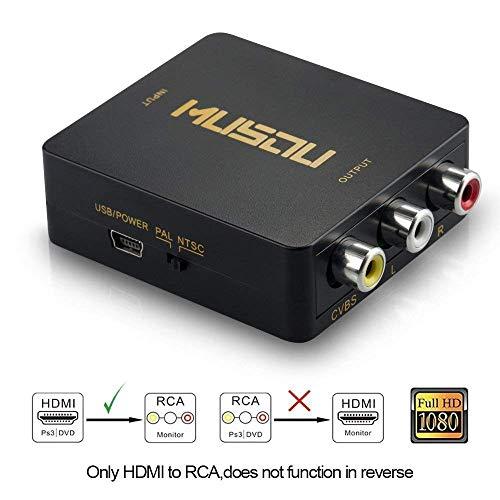 Musou - HDMI al Convertidor de AV, HDMI al Adaptador de Señal RCA, Soporte PAL / NTSC Interruptor, Full HD 3D 1080P, Negro