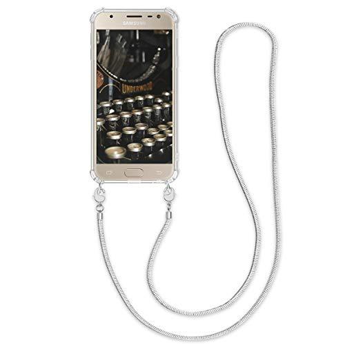 kwmobile Samsung Galaxy J3 (2017) DUOS Hülle - Handykette Silikon Handyhülle Case für Samsung Galaxy J3 (2017) DUOS - mit Metallkette