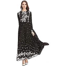 Robe à pois vintage pour femme avec imprimé vintage et élégant, style ethnique