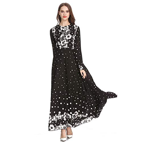 Damen Kleid mit Punkten, Vintage, Damendruck, schlankes Kleid, schlankes Kleid, Bohe Maxikleid, Noble Dress Muslim Bluse Ethnic Style