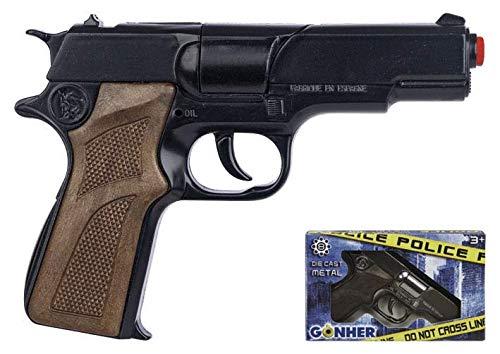 Pistola polizia finta in plastica e metallo revolver giocattolo