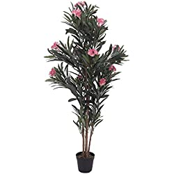 artplants.de Laurier Rose Artificiel Minou, Rose, 150cm - Plante Fleurie Artificielle - Faux Arbre
