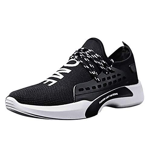 BHYDRY Bequeme Freizeit Mesh Beathing Athletic Sneakers für Herren und Damen(43,Schwarz) -