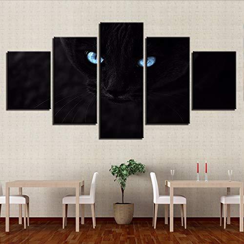 Malerei HD Gedruckt 5 Stücke Schwarze Katzen Blaue Augen Bilder Für Wohnzimmer Wandkunst Modulare Poster Decor 20x35/45/55cm,no frame ()