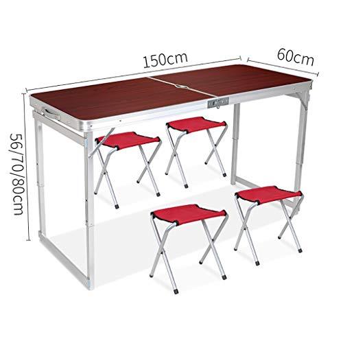 Lw outdoor Table de Pique-Nique Table Pliante avec chaises Ensemble Table de Camping Portable Table de Repas intérieure et extérieure (Couleur : B)