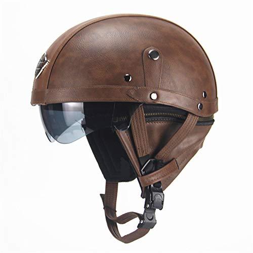 Helm Brille Erwachsene Frauen und Mens-Pers5onlichkeit-Retro- Motorrad-Harley-Sturzhelme mit UVAnti-fog-Schutzbrillen Vier Jahreszeiten halb Motorrad ATV Helme Schutzbrille ( Farbe : Dark Brown )
