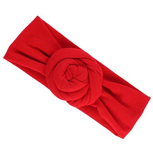 MagiDeal Elastisch Haarband Stirnband Knoten Blumen für Baby Mädchen - Rot