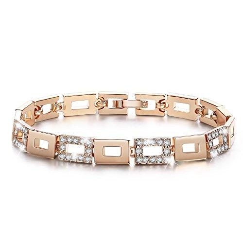 ITALINA Damen Tennis Armband mit Swarovski Elements Kristallen 17cm Vergoldet Geschenke für Frauen