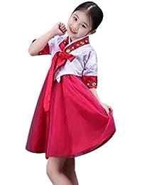 6fe7a7ca7 BOZEVON Vestido Tradicional Coreano - Arco Encantador para Niñas Manga  Corta Vestido Bastante Cómodo Hanbok