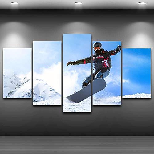 WYZHDQ5 pinturas Pintura decorativa Esquiador esquiar nieve Póster Fo