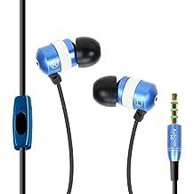 Gogroove AudiOHM HF - Cómodo auriculares intrauditivos con micrófono para llamadas manos libres y ajuste personalizado, azul