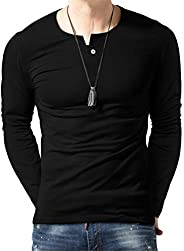 Aiyino Men's Casual Slim Fit Single Button Long Sleeve Placket Plain Henley Top T Sh