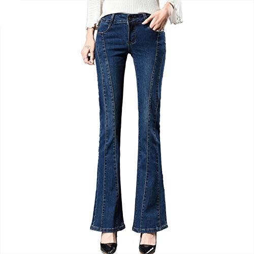 Damen Jeans Große Größe Flare Hose Slim Fit Schlank elastische Kraft Niedrige Taille Bleaching Gewaschen Hose mit weitem Bein Mode Vier Jahreszeiten Jeans,29 Flare Denim Jeans-hose