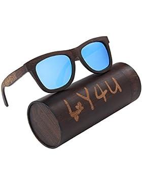 LY4U marco de bambú lleno polarizado para hombre y para mujer de bambú Gafas de sol revestidas de madera clásico...
