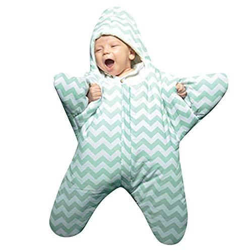 TIREOW Baby Schlafsack Ganzjährig 0-8 Monate Personalisierte Entwurf Sternform Reißverschluss Frontseite (Grün)