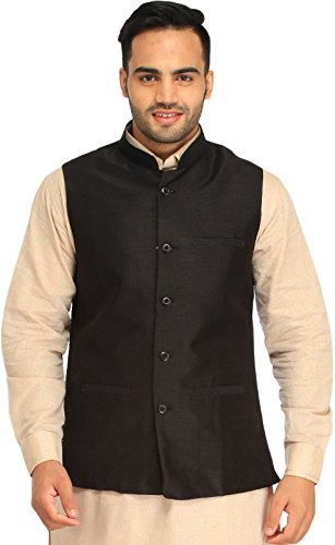 Exotic India Plain Wedding Waistcoat with Front Pockets - Color Jet BlackGarment...