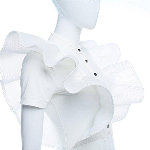 Moorui Donna Sheer Mesh Bodysuit Body Manica Corta Trasparente Camice con Ruches Bianca