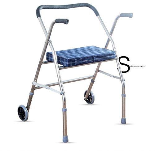 Andador de acero inoxidable plata Colores Walker plegable con ruedas (2ruedas–Andador (con asiento