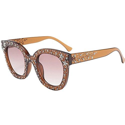 Honestyi Womens Künstliche Diamant Katzenauge Quadrate Star Big Frame Klassische Sonnenbrille Ladies Brick Graphite Mirror Glasses Sunglasses
