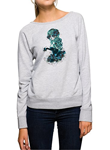 Santa Muerte Blue Sweater Girls Grey Certified Freak-M (Dia De Muertos Girl Kostüm)