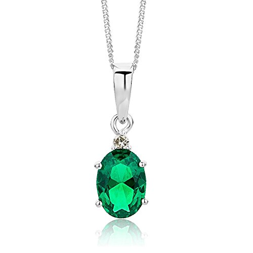 Miore 9 kt White Gold Necklace with Diamond (0.01 ct) and created Emerald Pendant on 45 cm Curb Chain for Women