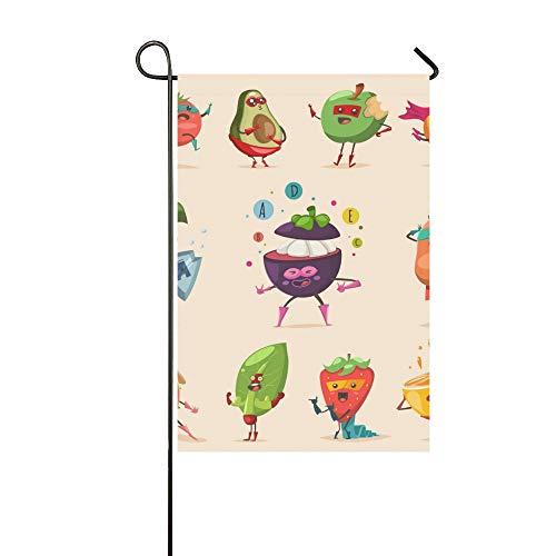 Individuelle Superhelden Kostüm - QuqUshop Wohnkultur Outdoor Doppelseitige Lustige Obst Gemüse Superheld Kostüm Garten Flagge Haus Hof Flagge Garten Hof Dekorationen saisonale Willkommen Outdoor Flagge 12x18 In
