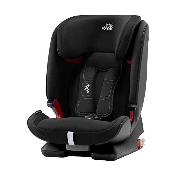 Britax Römer car seat 9-36 kg, ADVANSAFIX IV M Isofix group 1/2/3, Cosmos Black Britax Römer Our patented pivot link isofix system directs the force first downward into the vehicle seat, and then forward more gently - greatly reducing the risk of head and neck injury for your child We believe that a 5-point harness is the safest way to secure your child in a car seat because it keeps your child safe and tight in the seat's protective shell Soft neoprene performance chest pads fit comfortably on your child's chest. They help reduce your child's movement in the event of a collision, and add even greater comfort to the 5-point harness 1