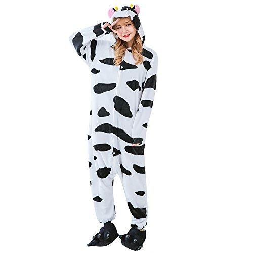 Imagen de m&a pijams vaca animales franela disfraz cosplay para carnaval halloween navidad mujer hombre ropa de dormir m