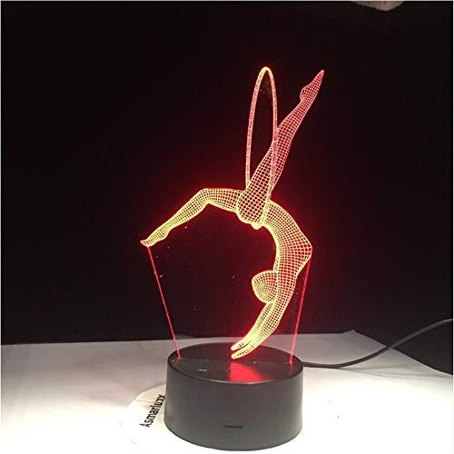 Jsnxzx Gymnastik 3D Led Tischlampe 7 Farben Yoga Tanz Usb Bewegung Modellierung Schlafzimmer Schlaf Beleuchtung Leuchte Dekor Turner Fans Geschenke