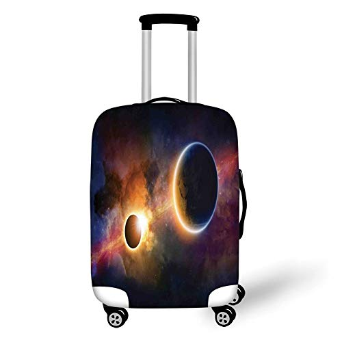 Travel Luggage Cover Suitcase Protector,Outer Space Decor,Planet in Milky Way Dark Nebula Gas Cloud Celestial Solar Eclipse Galaxy Theme,Multi,for Travel M -