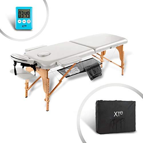 lettino da massaggio lettini per massaggi estetica 2 zone legno portatile (bianco)