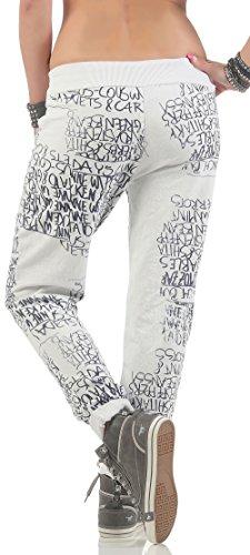 malito Sweatpants mit Schriftzug Baggy 3570 Damen One Size Weiß