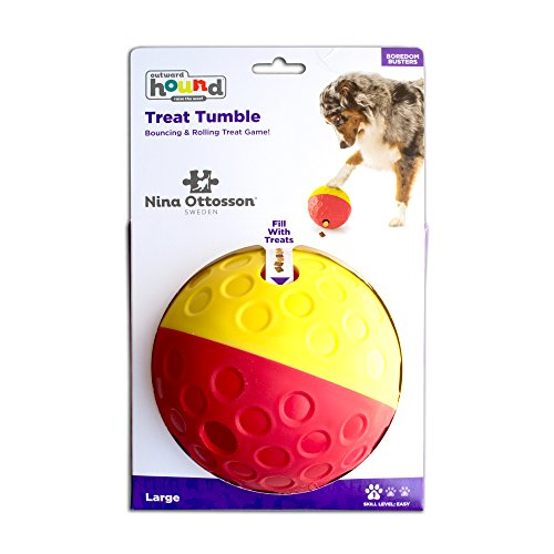 Nina Ottosson Treat Tumble Dispensing Brain and Exercise Game for Dogs, Red/Yellow, Large