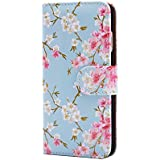 32nd Floral Series - Design PU Leather Book Wallet Case Cover for Apple iPhone 6 & 6S, Designer Flower Pattern Wallet Style Flip Case With Card Slots - Spring Blue