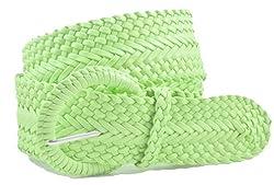 Ladies Fashion Web Braid Faux Leather Woven Metallic Wide Belt 22 Colors (L (43